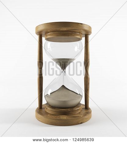 Sand glass in wooden carcass sand running. White background. Concept of time. 3D rendering