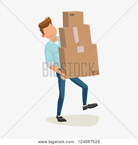 Delivery man, delivery service. Delivery box. Delivery boy. Delivering Package. Delivery cartoon character with packet. Delivery flat design. Delivery picture. Delivery man box. Vector illustration