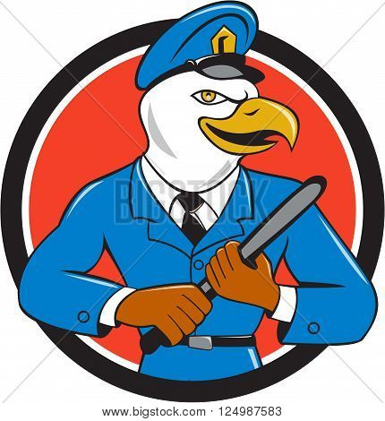 Illustration of an american bald eagle policeman holding baton looking to the side set inside circle on isolated background done in cartoon style.