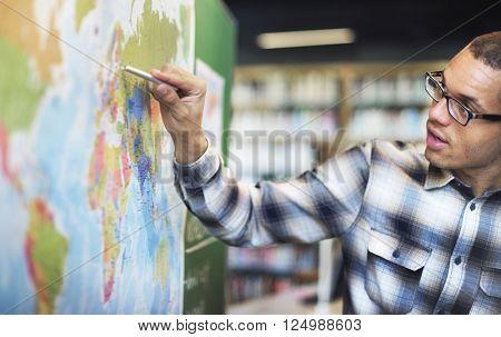 Teacher Teach Teaching Geography Global Lesson Concept poster