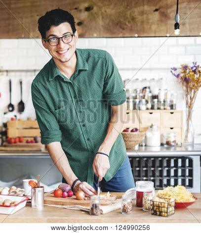Handsome Man Chef Cook Cooking Concept