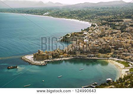 view on Castellammare del Golfo in Sicily, italy