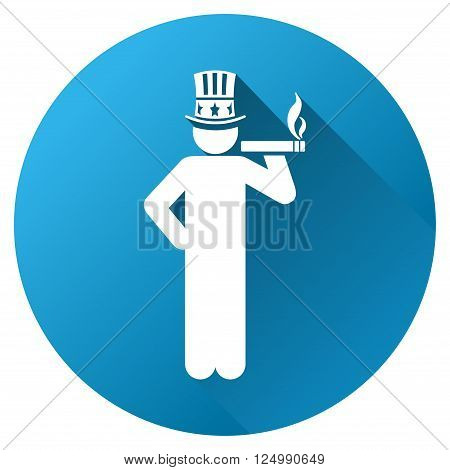 American Capitalist vector toolbar icon for software design. Style is a white symbol on a round blue circle with gradient shadow.