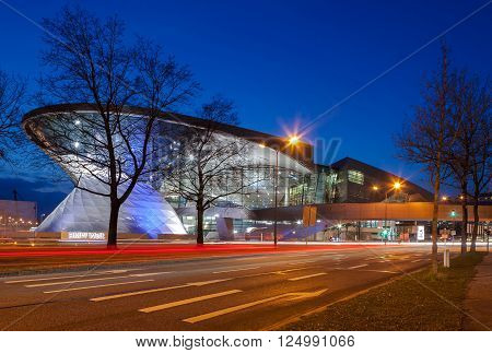 Bmw World (bmw Welt) In Munich At Night.