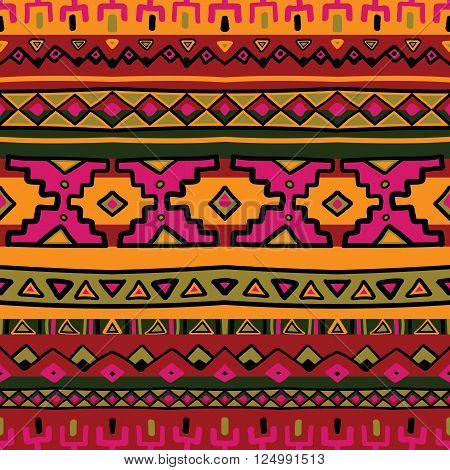 Bright acid colored ethnic South America abstract stripe vector seamless pattern. Mexican, peru or aztec motifs