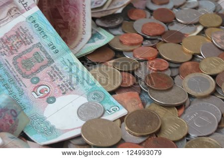 Mixed currency from Europe especially Euro coins and other countries such as Hungary Serbia India