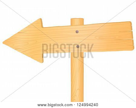 Wooden road sign arrow, vector illustration isolated on white