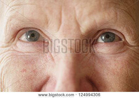 senior woman grandma eyes looking to camera close up portrait, shallow focus