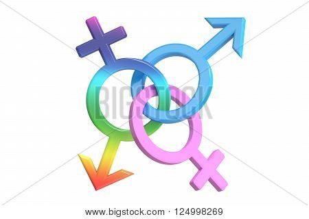gender symbols 3D rendering isolated on white background poster