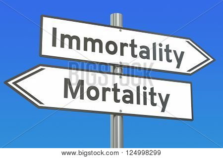 immortality or mortality concept on the road signpost 3D rendering