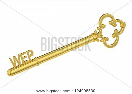 wep concept with golden key 3D rendering