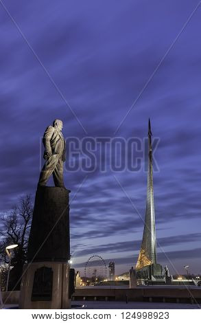 Conquerors of Space and Sergey Korolev Space Constructor  monements in Moscow during blue hour