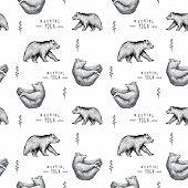 Seamless pattern of fun bear isolated on white background. Print posture of morning practice pranayama asana pose yoga. Spirit graphic character. Half-boat pose poster