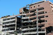 Serbia war damage - Ministry of Defense ruin in Belgrade. Destruction after NATO bombing in 1999. poster