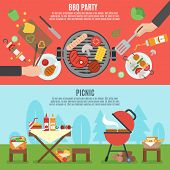 BBQ party horizontal banner set with outdoor picnic elements isolated vector illustration poster