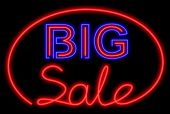 Big sale neon on the black background poster