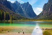 Lake Dobbiaco (Toblacher see) in the Dolomites Italy poster