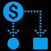 Cashflow Scheme vector icon. Cashflow Scheme icon symbol. Cashflow Scheme icon image. Cashflow Scheme icon picture. Cashflow Scheme pictogram. Flat blue cashflow scheme icon. poster