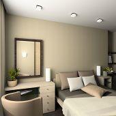 Iinterior of modern bedroom. 3D render poster
