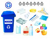 Plastic waste suitable for recycling and plastic codes poster