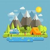Campsite place in mountain lake area. Forest camping travel landscape with rv camper bus in flat design. Summer camp place with traveler bus vector illustration. National park auto trip campground. poster