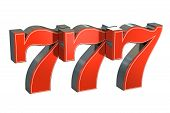 777 Lucky jackpot symbol 3D rendering on white poster