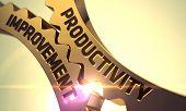 Productivity Improvement - Concept. Productivity Improvement on Mechanism of Golden Metallic Gears with Glow Effect. Productivity Improvement on the Mechanism of Golden Cogwheels. 3D Render. poster