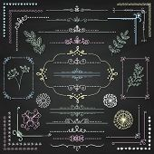 Decorative Sketched Rustic Floral Doodle Corners, Branches, Frames, Dividers, Text Frames, Border Lines, Page Calligraphic Design Elements on Chalk Board Texture. Chalk Drawing Vector Illustration. poster