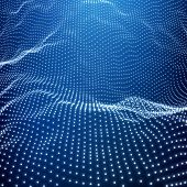 Landscape Background. Futuristic Landscape with Shiny Grid. Low Poly Terrain. 3D Wireframe Terrain. Network Abstract Background. Cyberspace Grid. Technology Vector Illustration of Low-Poly Landscape poster