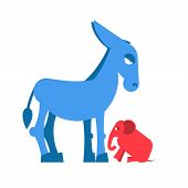 Big Blue Donkey and little red elephant symbols of political parties in America. Democrats against Republicans. Opposition to USA policy. Symbol of political debate. American elections poster