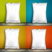 Set Blank white packaging. Sample package. Set Blank template for design. Net packaging is on shelf. Mockup Foil Food Snack pack, packaging, wrapper. Set Plastic Pack Template for design and branding poster