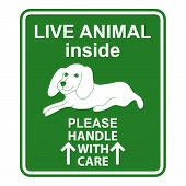 Hand drawn sign Live animal for travelers with dog. Sign for animal cage. Live animal handle with care sign. Special sign for care about shipping animals. Sign for animal transportation. Sticker with dog poster