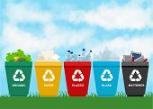 Recycle garbage bins. Separation concept. Set waste: plastic organic battery glass metal paper. Trash categories poster