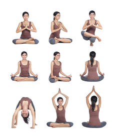 series of Young woman doing yoga poses
