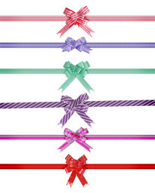 ribbon bow over white background