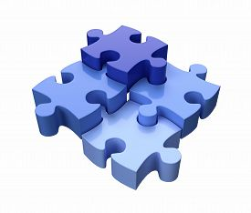 Four Jigsaw Puzzle Pieces Blue on White Background 3D Render