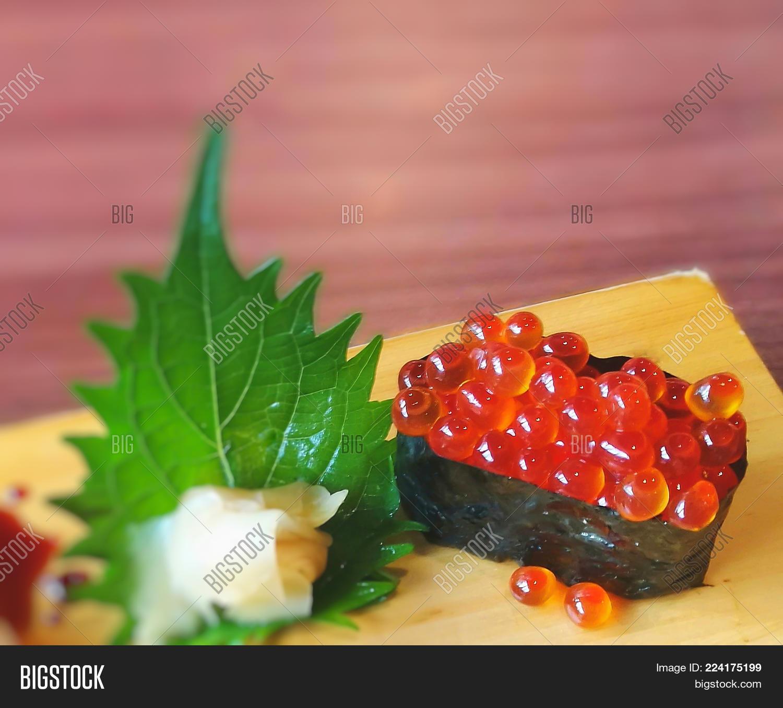 Ikura Sushi On Wooden Image & Photo (Free Trial) | Bigstock