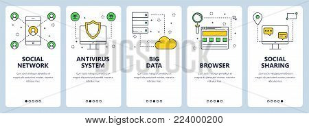 Vector set of vertical banners with Social network, Antivirus system, Big data, Browser, Social sharing website templates. Modern thin line flat style design.