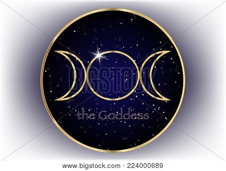 Religious gold sign. Wicca and Neopaganism. Triple Goddess,  universe background