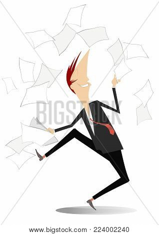 Happy man tossing papers, excited about something vector illustration. Man or businessman glad of the end of work and throws up to the air documents isolated illustration