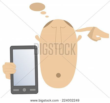 Thinking head, hand and smart phone vector illustration. Man holds smart phone, thinks about something and points finger to the head isolated on white illustration