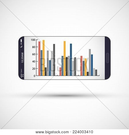 Mobile phone screen with infographic. Smartphone with color infographic background.