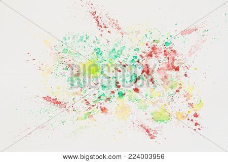 Hand drawn colorful cheerful splash spray on white paper, spring and summer shades. Abstract watercolor, paper grain texture. Art banner, template, print, cover for modern design