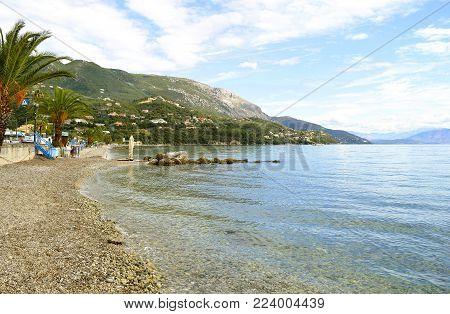 Ipsos, Corfu, Greece - October 29, 2017 : Ipsos Beach in Corfu a Greek island in the Ionian sea