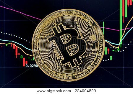 Bitcoin. Crypto currency Bitcoin, BTC, Bit Coin. Bitcoin golden coin on a chart. Blockchain technology, bitcoin mining concept