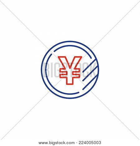 Currency signs, money exchange, yen coin, vector mono line icons