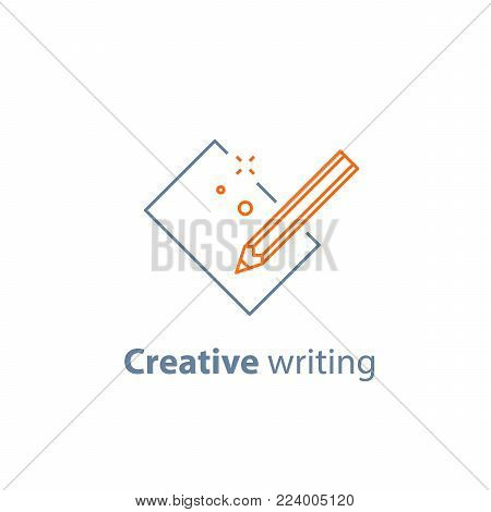 Creative writing, storytelling concept, pencil and sheet of paper, copy writing, vector line icon