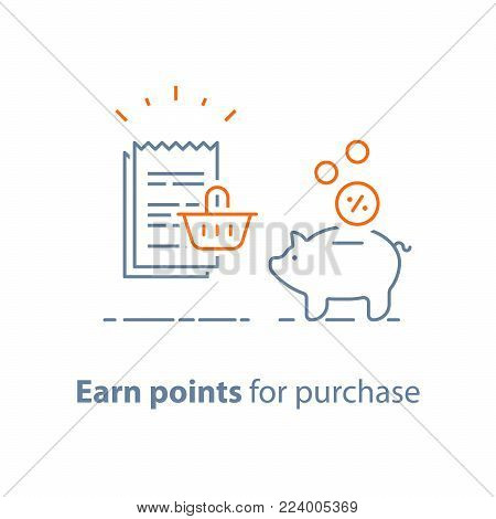Earn points and get reward, loyalty program, marketing concept, piggy bank with coins and till slip with shopping basket, vector line icon, thin stroke illustration