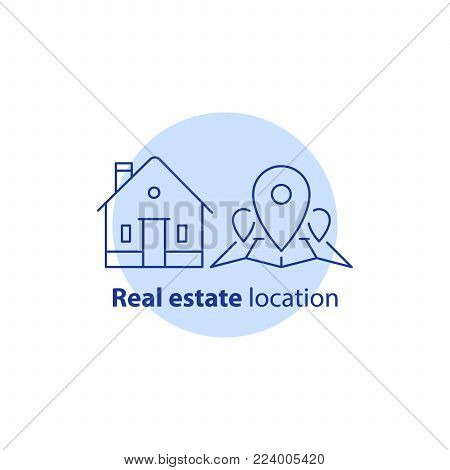 House location, map pin point, real estate services, home relocation, residential district, neighborhood concept, vector line icon