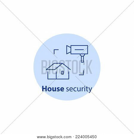 House burglary, security services, video camera surveillance, guard system, robbery prevention, intrusion protection, property insurance, vector line icon